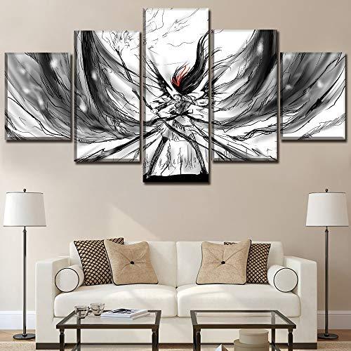Poster, 5 pezzi di stampe su tela, dipinti su tela, cornici per la decorazione della camera da letto, Pc anime ragazza magica Madoka  pezzi su tela, stampe d'arte, decorazione domestica moderna