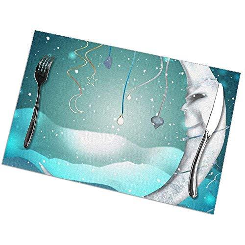 Hao-shop hittebestendige placemats set van 6 eettafelsets Moon Fantasy placemat antislip wasbaar