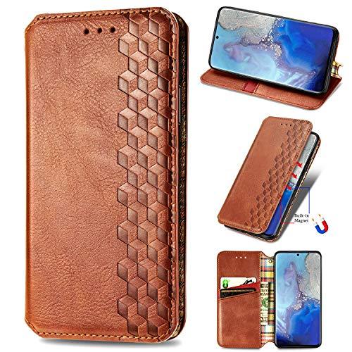 LODROC Galaxy S20 Ultra Hülle, TPU Lederhülle Magnetische Schutzhülle [Kartenfach] [Standfunktion], Stoßfeste Tasche Kompatibel für Samsung Galaxy S20 Ultra - LOSD0200290 Braun