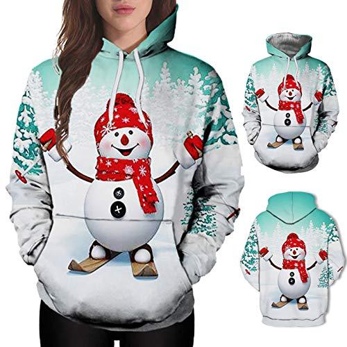 Geilisungren Damen Weihnachten Hoodies Süße Schneemann Bedruckte Kapuzenpullover Lustige Sweatshirts Lose Bluse Kordelzug Pullover Tops mit Tasche