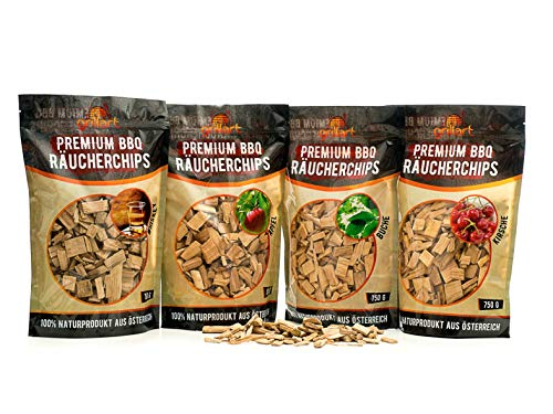 grillart® Premium BBQ Räucherchips Mix 4er XL Set für das besondere Raucharoma – sehr rauchaktives Räucherholz/Holzhackschnitzel – Vorteilspack 4X 750g Beutel