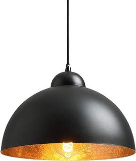 NEWSEE Lámpara colgante vintage, color negro y dorado (negro) de 12 pulgadas, E27, para máx. 60 W, lámpara industrial, lámpara de comedor, decoración para el salón, lámpara retro