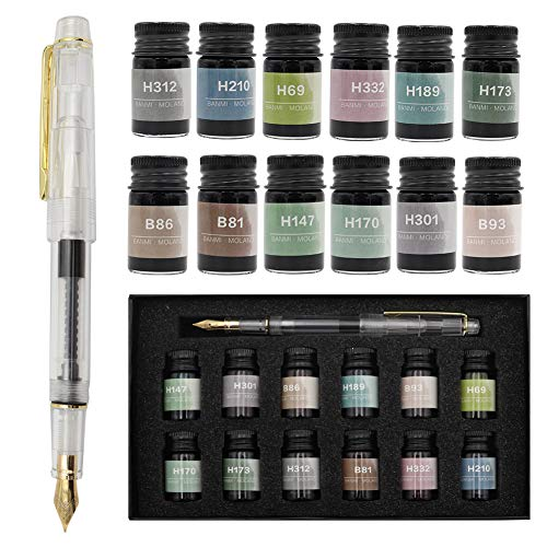 AXEARTE Fountain Pen Set, Calligraphy Pen Set - 12 Colors Fountain Pen Ink and Piston Filling 0.7mm Nib Pen, Gift Set for Writing, Signature, Journal, Artist and Kids and Adults (Fountain Pen)
