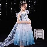 SUNXC para Bebé Niñas Vestido Elegante, Vestido de Princesa Snow Wind Vestido de Manga Corta Aisha-C_140cm,Vestido Niña Princesa Tutu Disfraz Cumpleaños