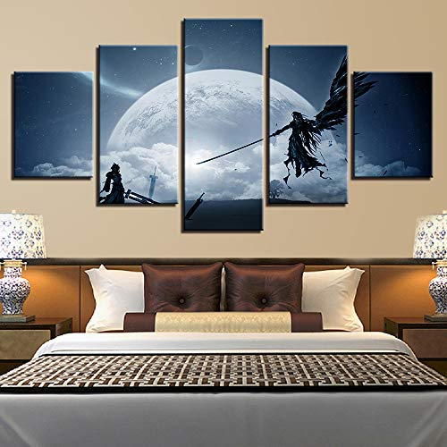 PEACOCK JEWELS [Large Premium Quality Canvas Printed Wall Art Poster 5 Pieces / 5 Panels Wall Decor Final Fantasy Painting, Home Decor Pictures - Stretched