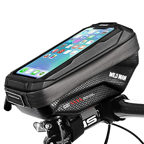 Cheftick Bike Handlebar Bag, Waterproof Bicycle Frame Top Tube Pouch Touchscreen Phone holder Bag with Headphone Hole for any Smart Phone within 6.5 inch, Rain Cover Included