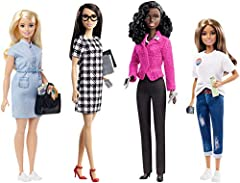 You can be a candidate, campaign manager, campaign fundraiser and voter with the Barbie Campaign Team Giftset! Includes 4 approx.12-in/30.40-cm Barbie dolls: a candidate, campaign manager, campaign fundraiser and voter (1 blonde and 3 brunette) repr...
