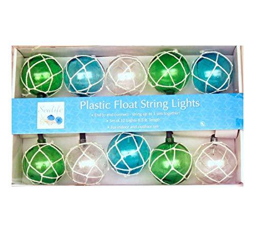 Dennis East Vintage Glass-Style Buoy Float String Lights - Bleached Rope