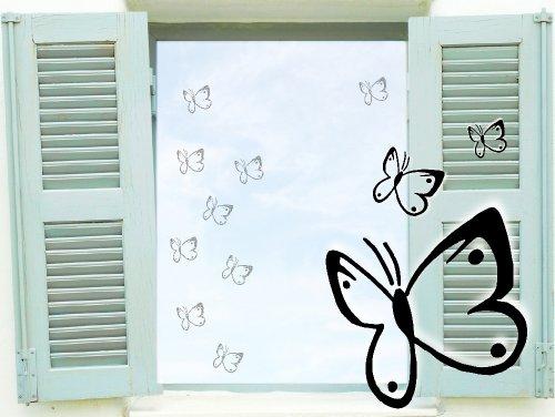 Fenstertattoo selbstklebende ~ Schmetterlinge Butterfly4 ~ glas061 Aufkleber für Fenster, Glastür und Duschtür, Badezimmer Glasdekor Fensterbild, wasserfeste Glasdekorfolie in Sandstrahl - Milchglas Optik (9 Stück je 6 cm)