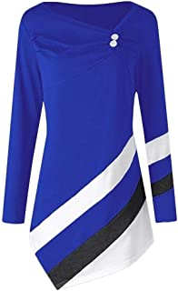 Sunhusing Womens Long Sleeve Button Buckle Stripe Blouse Asymmetrical Hem Long Tunic Top