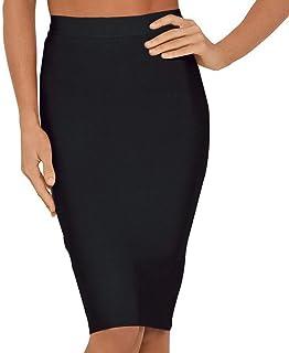 Nayssi Women's High Waist Elastic Fishtail Bandage Knee Length Skirt