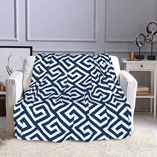 Manta de forro polar de 50 × 60 pulgadas, cojín de llave griega, acogedora manta decorativa suave y cálida para sofá, cama, sofá, viajes, hogar, uso en la oficina en todas las estaciones