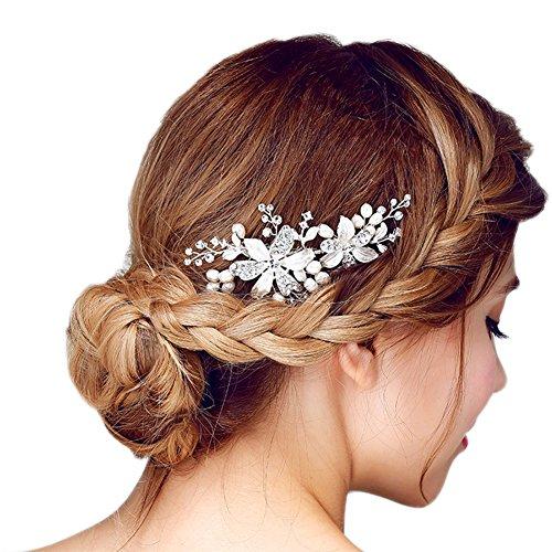 Bruid, steekkam met strass, bloemen, parels, haarsieraad, bruiloft, accessoires (MEHRWEG)