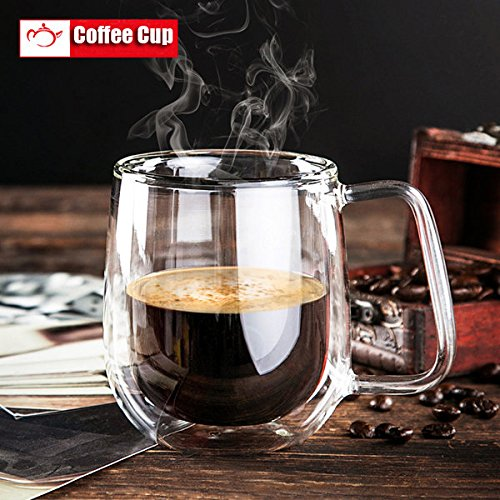 Bazaar 200 ml dubbelwandige glazen schalen transparant dubbel glas koffiekopje glazen kopjes