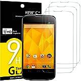 NEW'C 3 Unidades, Protector de Pantalla para LG Google Nexus 4, Antiarañazos, Antihuellas, Sin Burbujas, Dureza 9H, 0.33 mm Ultra Transparente, Vidrio Templado Ultra Resistente