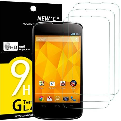NEW'C 3 Stück, Schutzfolie Panzerglas für LG Google Nexus 4, Frei von Kratzern, 9H Festigkeit, HD Bildschirmschutzfolie, 0.33mm Ultra-klar, Ultrawiderstandsfähig