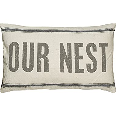 Primitives by Kathy Vintage Flour Sack Style Pillow, 15.5 x 24.5-Inch, Our Nest