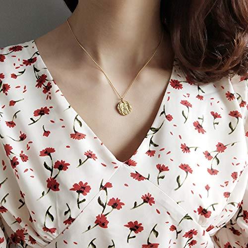 Collar con colgante de monedas en relieve vintage para mujer 925 plata esterlina redondo disco en capas collar declaración