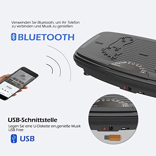 ISE Fitness Plateforme Vibrante Oscillante avec Bluetooth,USB,Télécommande,Grande Surface Anti-Dérapante 74x42 cm avec 2 Bandes de Résistance, 5 Programme & 99 Niveaux de Vitesse,Max.150KG,SY-329