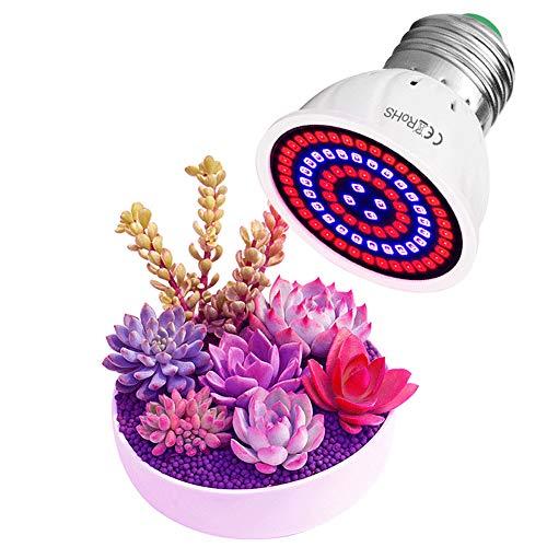 SJTL 2Pcs LED Pflanzenlampe E27/E14/GU10 Grow Light 80 LEDs Vollspektrum Pflanzenlicht Sonnenähnlich Pflanzenlampen Wachstumslampe für Pflanzen Garten Gewächshaus Zimmerpflanzen,GU10