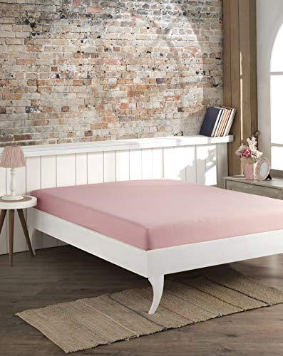 Bascuda Sábana bajera ajustable de lujo para cama doble, 100% algodón, suave, fácil de cuidar, resistente a las arrugas y transpirable, 6 colores, sábana bajera doble de 135 x 200 cm
