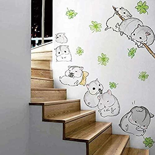Precioso pequeño hámster pegatinas de pared de dibujos animados lindo decoración de ratón bebé amor regalos casero niños habitación decoración DIY fiesta suministro 90 * 110 cm