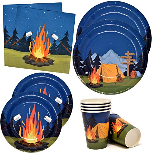 """Camping Adventure Party Supplies Tableware Set 24 9"""" Paper Plates 24 7"""" Plate 24 9 Oz Cup 50 Lunch Napkin for Camp Out Campfire Forest Nature Hiking Camper Themed Disposable Birthday Baby Shower Decor"""