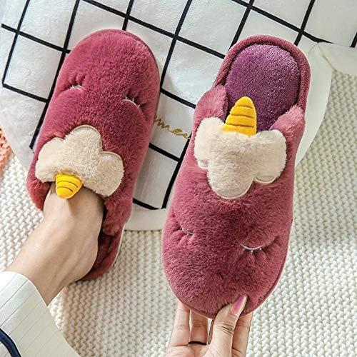 QPRER Zapatillas Interior,Morado Dibujos Animados 3D Unicornio Felpa Fluffy Warm Antideslizante Piso Zapatillas De Algodón Unisex Mute Ligero Fondo Suave Inicio Zapatos Casuales, 43/44