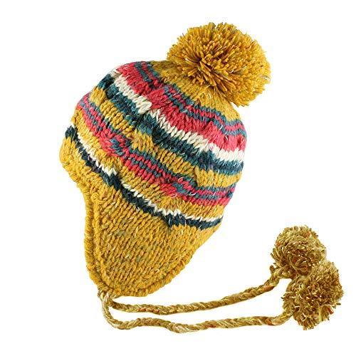 Morehats Strickmütze mit Bommel, bunt gestreift, handgemacht - gelb - Einheitsgröße