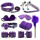10 PCS Rẹstraịnts for Śẹ-xy Leather Furry ɃDSḾ Bôńdâge Sets Rêštráint Fẹtịsh Slạvẹ Hạńdcǚffs Wrịst Cǚffs Adǚlt Toys for Women Couples Play Games Pleasure (Purple)
