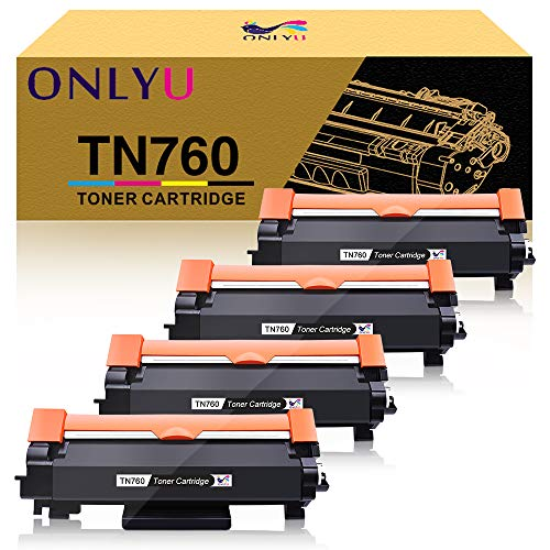 ONLYU Compatible Toner Cartridge Replacement for Brother TN760 TN-760 with Chip for Brother MFC-L2730DW DCP-L2550DW MFC-L2750DW TN730 TN-730 (4 Pack, Black)