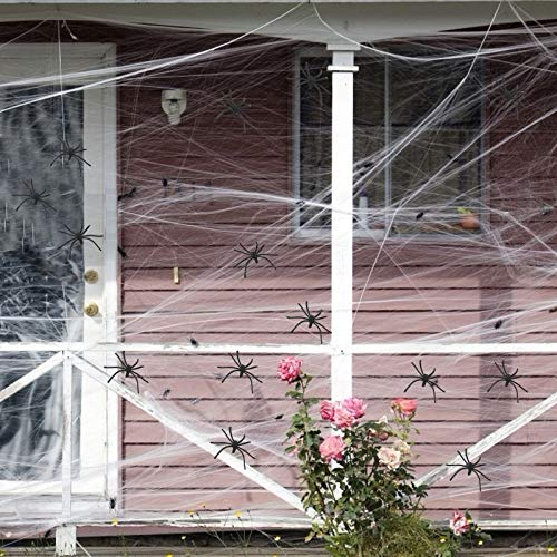 LANMOK Red de araña decoración 200g telaraña elástica 40pcs arañas plásticas para adornar Halloween de Fiesta casa Haunted House Club a Crear un Ambiente espelunante Negro Blanco Adultos jóvenes