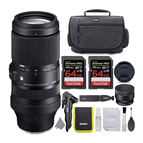 Sigma 100-400mm f/5-6.3 DG DN OS Contemporary Lens for Sony E-Mount Bundle with 64GB Extreme PRO SD Cards and Koah Messenger Camera Case (4 Items)