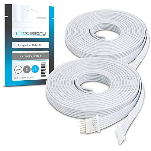 Litcessory Cable de Extensión para Philips Hue Lightstrip Plus (3m, Paquete de 2, Blanco)