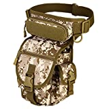 Protector Plus Unistrengh Multi-Purpose Military Tactical Drop Leg Sling Bag Walking Man Tool Thigh Waist Belt Pack Paintball Airsoft Motorcycle Riding Camera EDC Pouch (Desert Camo)