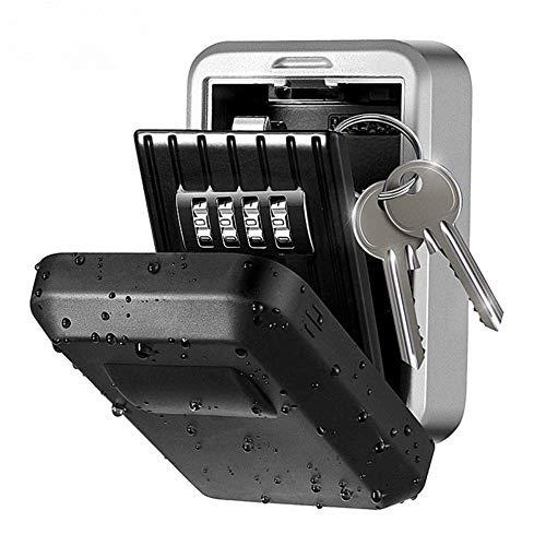 Caja de Bloqueo de Llaves Llave de Seguridad montado en la Pared Lockbox Key Lock Box aleación de Zinc Almacenamiento de Claves con la Cubierta a Prueba de Agua Gabinetes Clave