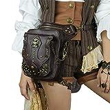 Riñonera Steampunk Piel paquete de la cintura de Steampunk for Hombres Mujeres hombro de Crossbody del bolso de la cintura Adecuado Para Senderismo Y Camping ( Color : Brown , Size : 29x28x9.5cm )