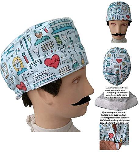 UOMO Cappello per chirurgia STRUMENTO MEDICO Capelli Corti chirurgo, dentista, veterinario, asciugamano sulla fronte, tenditore regolabile a proprio piacimento