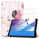 LYZXMY Funda para Lenovo Tab M10 HD (2nd Gen) 10.1' TB-X306F / TB-X306X + [2 Piezas] Vidrio Templado - Carcasa Silicona Tablet Cover con Soporte Función Caso PU Flip Case - Girl