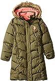 US Polo Association Girls' Big Long Bubble Jacket, Olive, 7/8