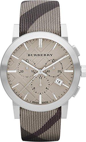 Burberry Armbanduhr für Herren, Schweizer Chronograph, rauchkariertes Stoffband, 42 mm, BU9358