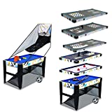 Bigzzia 12 in 1 Multi Game table, pool table football Glide Hockey table Basketball chess backgammon checkers Baseball Bean Bag Soccer tic-tac-toe poker
