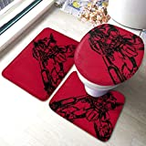 Char Aznable'S Zaku Bathroom Rug Mats Set 3 Piece Anti-Skid Pads Bath Mat + Contour + Toilet Lid Cover Bathroom Antiskid Pad