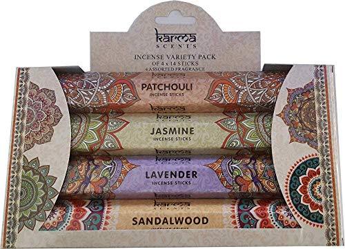 Karma Scents - Varillas de incienso (4 unidades, 14 unidades, aroma a jazmín, madera de sándalo, lavanda)