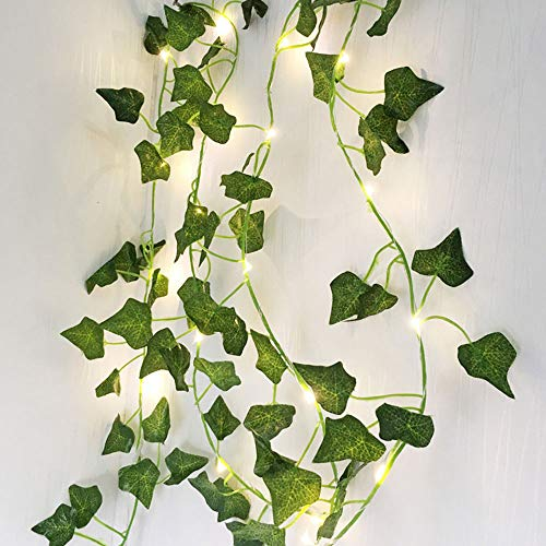 NA. Leaf LED String Lights, Batteries Powered Green Leaf Garland 2M 20LED String Lights Vine Fairy Lights for Bedroom Home Kitchen Garden Office Wedding Wall Décor