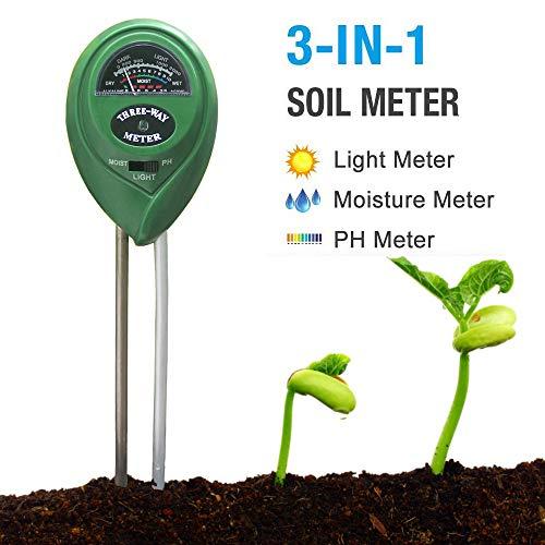 Strailboard Soil pH Meter, Soil Moisture Meter 3-in-1 Moisture,Light and PH Test Kits, Plant Care for Garden, Lawn, Farm, Indoor & Outdoor