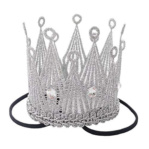 FITYLE Bebé niña niño señora foto Prop corona diademas princesa corona para cumpleaños niñas niños - de plata