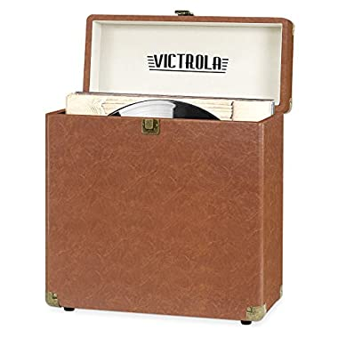 Victrola Vintage Vinyl Record Storage Carrying Case for 30+ Records, Brown