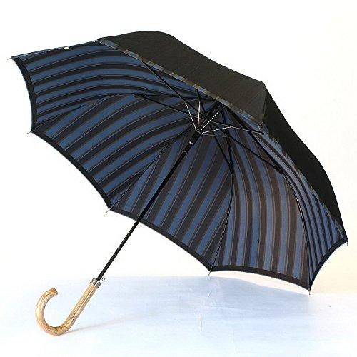 高級甲州織 メンズ 長傘 「Tie」 無地 ✕ ストライプ D・NAVY 濃紺 江戸時代から140年以上の歴史を持つ甲州織の老舗傘メーカー 槙田商店 紳士用 高級傘