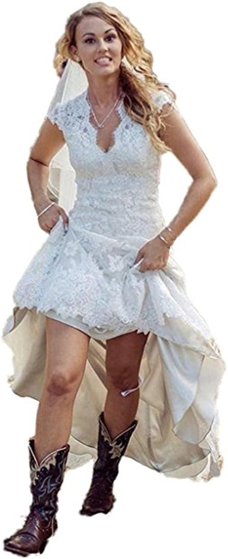Ellystar Women's ALine Lace Cap Sleeve Zipper High Low V Neck Wedding Dresses
